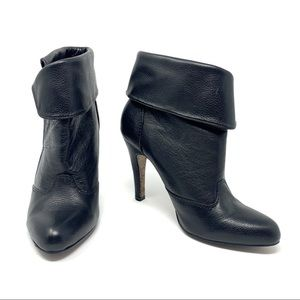 Report Size 6 Black Leather Fold Over Booties